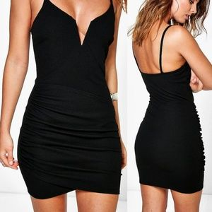 Boohoo Black Cocktail Bodycon Dress